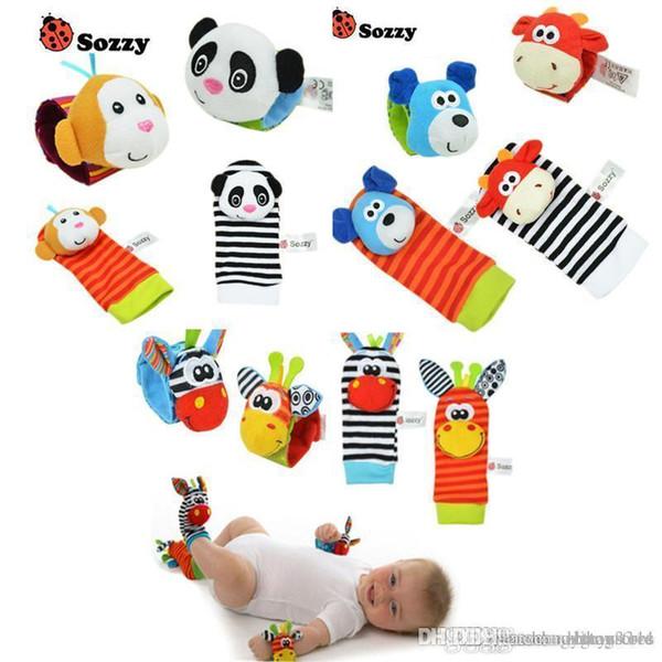 htt all'ingrosso crepitio del bambino Giocattoli polso del cercatore del piede morbido piccolo Boy Toy 0-12 mesi bambini dell'infante appena nato peluche Calze Brinquedos