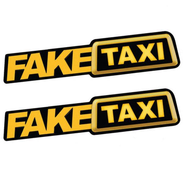 2 Unids FALSO TAXI Etiqueta Engomada Del Coche Emblema Autoadhesivo Pegatinas de Vinilo para Car Van Car Styling
