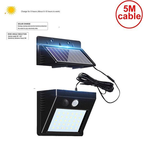 5M cabo da lâmpada sensor de luz solar outdoor parede indução corpo humano 56 / 30LED lâmpada de rua luz dividida casa luminária gramado solar jardim