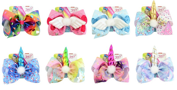 16 Pcs 8 Inch Rainbow Unicorn Horse Butterfly Print Ribbon Bows With Clips Kids Hairpin Hair Clips Barrettes Beautiful HuiLin C218