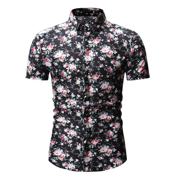 Chinese Style Floral Blusa Gentleman Elegant Dinner Wear Tops Classic Flowers Printed Male Turn-down Collar Shirt Short Sleeve