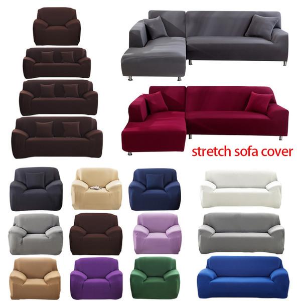 1/2/3/4 Seater Sofa capa de poliéster cor sólida antiderrapante Couch Tampa estiramento Móveis Protector Sala Capa Sofa