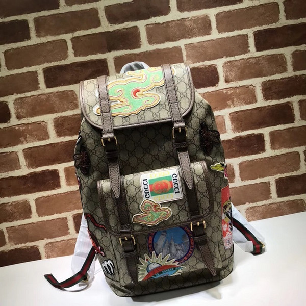 2019 Top Quality Celebrity design Letter embossed Embroidered flower Badge canvas leather Backpack Man Woman 473869 Travel bag