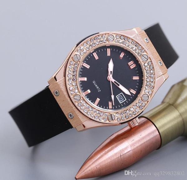 Yüksek kaliteli, tam elmas izle kadın Kauçuk kayışı yeni etiket sıcak gül altın saat bayanlar kadınlar için kol saatleri elbise