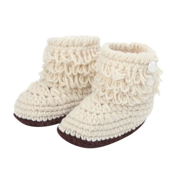 WEIXINBUY mano Boots Newborn Culla pattini infantili Ragazzi Ragazze Crochet maglia Booties caldi d'inverno