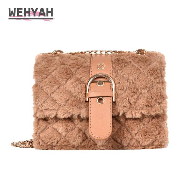 Wahyah Furry Crossbody Bags for Women Small Bag Plush Ladies Hand Bags Faux Fur Leather Handbags women Tote Clutches Purse ZY157
