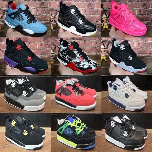 Großhandel 2019 Neue Kinderschuhe Basketball Schuhe Großhandel Neue 4 4s Turnschuhe Kinder Sport Mädchen Trainer Basketball Schuhe Größe 28 35 Von