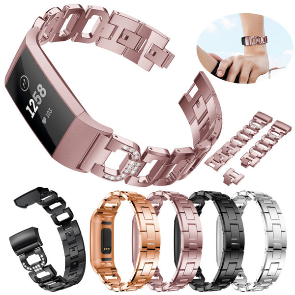 D Word Metal Bracelets Replacement Adjustable Straps Crystal For FitbitCharge 3 Word Metal Bracelets Replacement 1.10