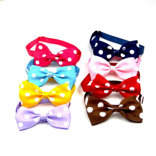 Pets Christmas Polka-dot Bow-tie 8 Colors Pets Christmas Bow Headdress Dog Cat Christmas Costumes Accessories 200 Pieces DHL