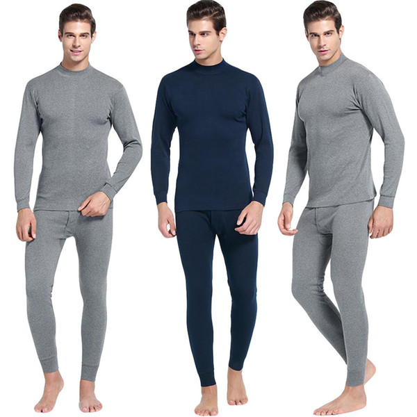 Men's Casual Thermal Long Sleeve Underwear 2019 Middle Collar Pure Color Warm Clothing Suit Daily pajamas #0221 A#487