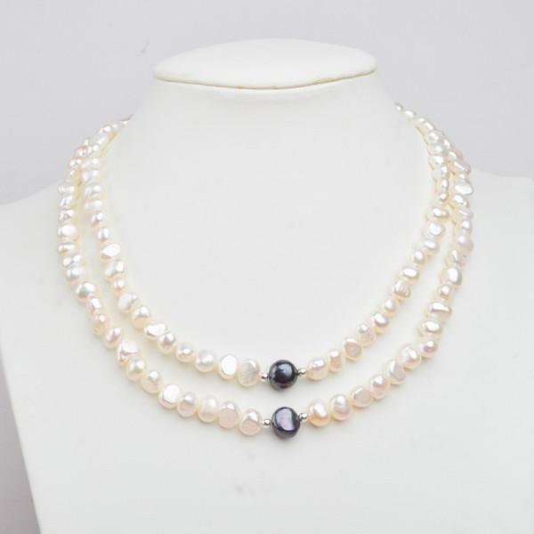 ASHIQI Reale bianco perla naturale Collana di perle autentici gioielli di perle semiround per le donne regalo