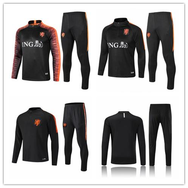 top popular New Netherlands Ajax soccer Tracksuit 2018-2019 Adult Holland jogging jacket DOLBERG VAN DE BEEK football Training suit 2019