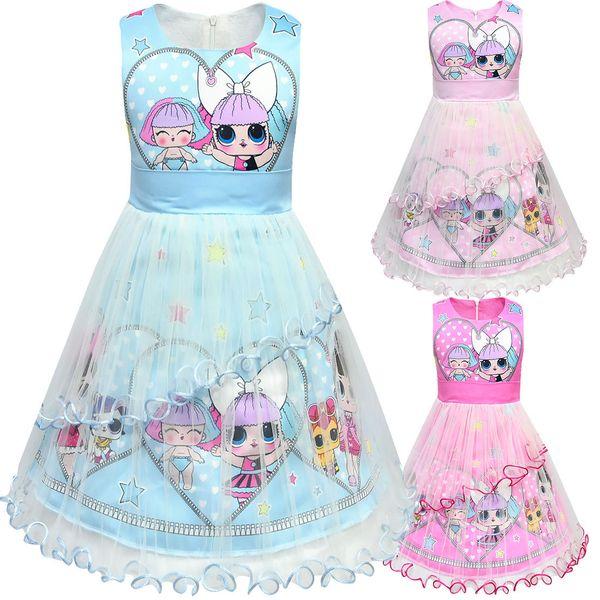2019 Muñecas designe para bebés Vestidos de verano Niña linda tutu falda niña princesa de alta calidad falda gasa Vestido de los niños vestido de fiesta