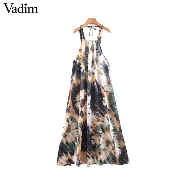 Vadim Women Stylish Print Halter Backless Ankle Length Dress Adjustable Straps Sexy Female Vintage A Line Long Dresses Qb669 J190714
