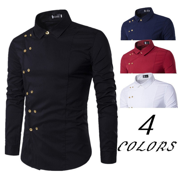 Men`s Formal Shirts 2019 Long Sleeve Turn-down Collar Double Breasted Black White Red White Stylish Shirts Top For Men Plus Size