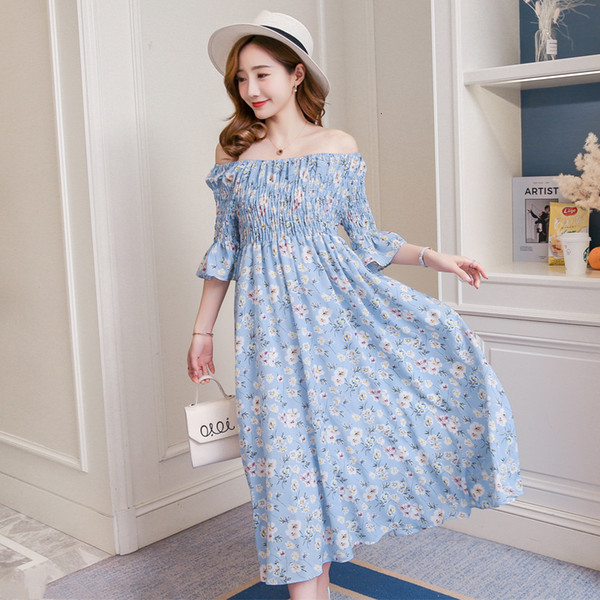 520 2018 summer clothes new version of the fashion missing shoulder and waist show thin long maternity dressMX190910
