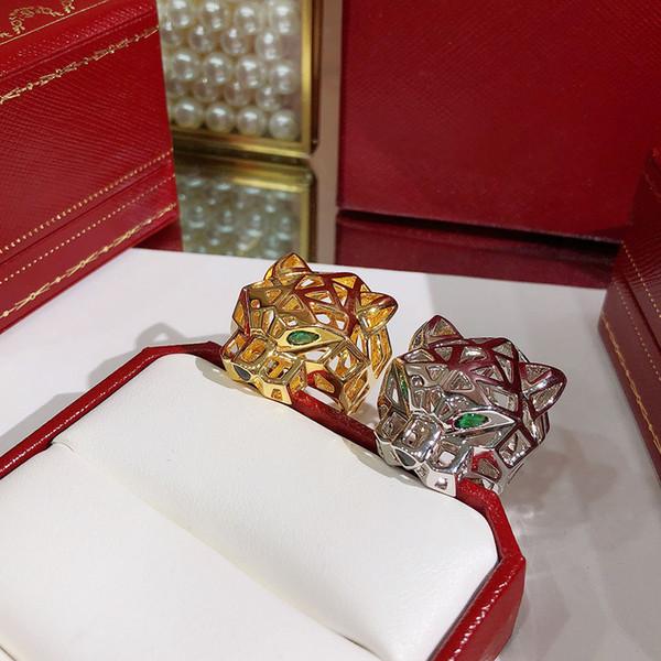 Dsicount venta diseñador plata de ley 925 ahueca hacia fuera el anillo de leopardo 18 K joyería chapada en oro para las mujeres o los hombres