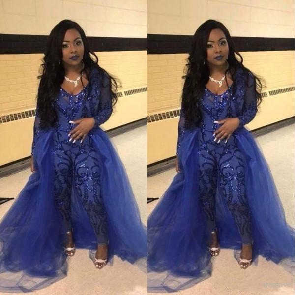 Blue Tulle Evening Gowns Jumpsuits Long Sleeve Prom Dress Detachable Train Lace Applique Luxury African Party Womens Plus Size Pant Suits