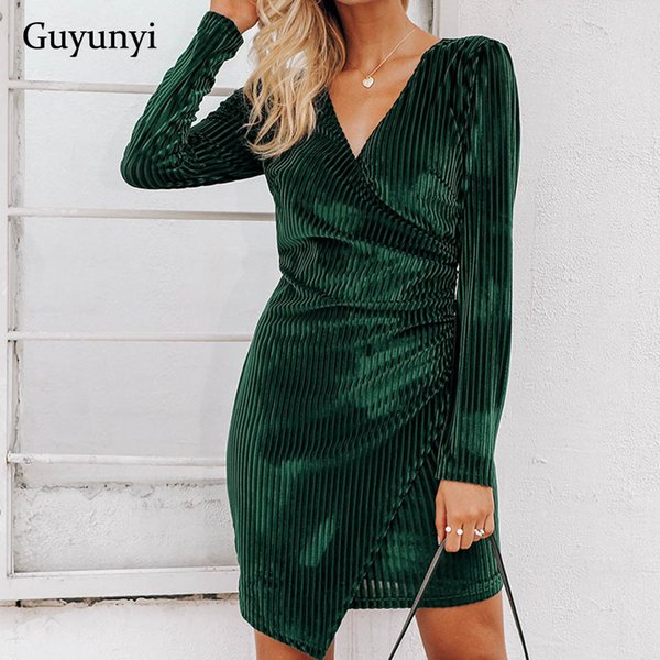 03c8f11f6 Stretch Tight Velvet Party Spring And Autumn New Sexy V-neck Green Striped  Mini Dress
