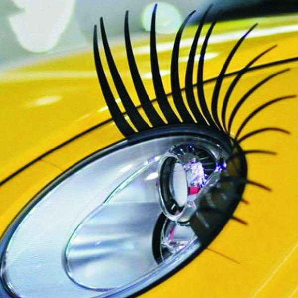 2 pcs / Paire Universel Autocollants De Voiture Phares 3D Cils Mignon DIY Autocollant 31x17cm Car Eye Lashes Car-Styling Accessoires
