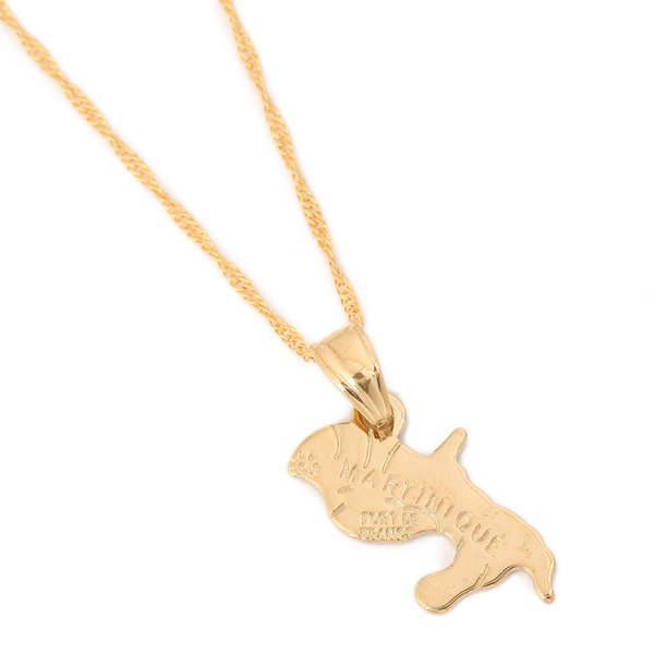 Map Of Martinique Necklace Pendants For Women Gold Color Jewelry France Martinique Map Items