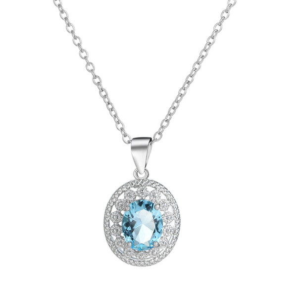 Hot explosions necklace fashion jewelry Tanabata Valentine's Day every day blue Topaz clavicle chain women