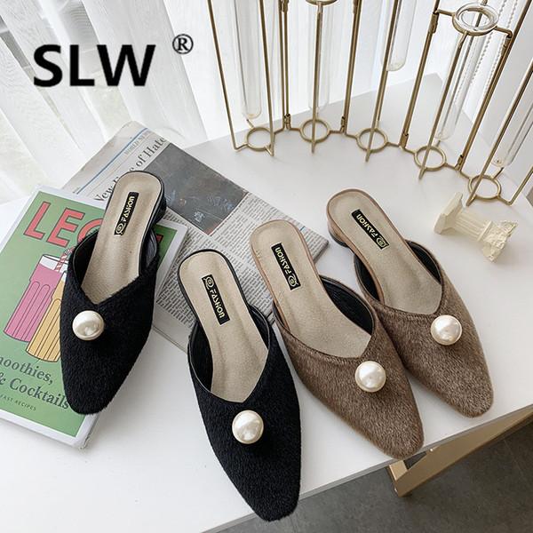 Gran perla puntiaguda dedo del pie mulas de punto transpirable tacón bajo zapatillas mujeres boca baja diapositivas primavera al aire libre ol zapatos mujer