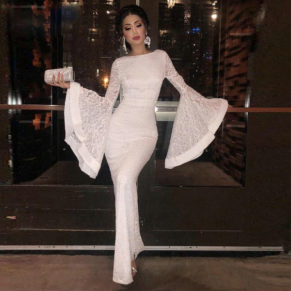 Elegant Ankle Length Lace Sheath Evening Dresses New 2019 Jewel Neck Long Poet Sleeves Saudi Arabia Tight Prom Party Gowns Formal Event Wear