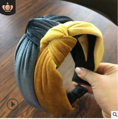 Knotted wide-brimmed velvet lace headband 2019 new headbands head band party birthday gifts yellow green black gray 398