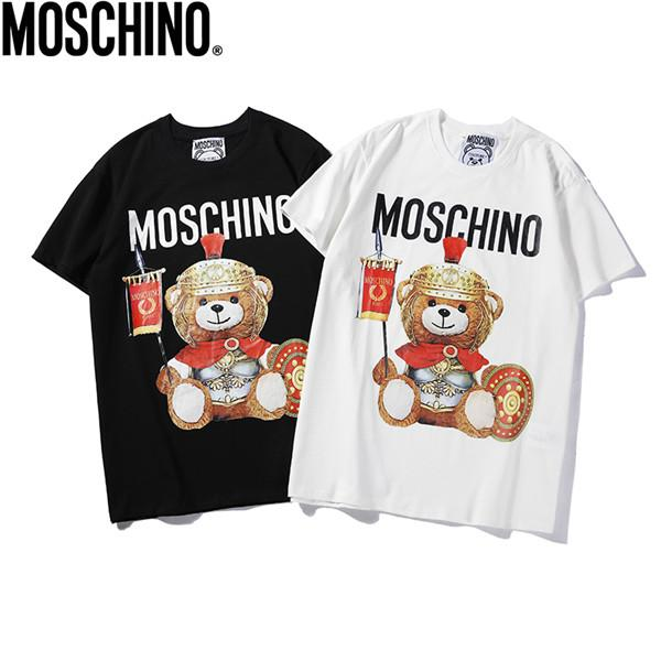 Q12 # 2019 verano nuevos hombres y mujeres con la misma armadura del oso impresión digital directa impresión de algodón camiseta para hombre diseñador camisetas