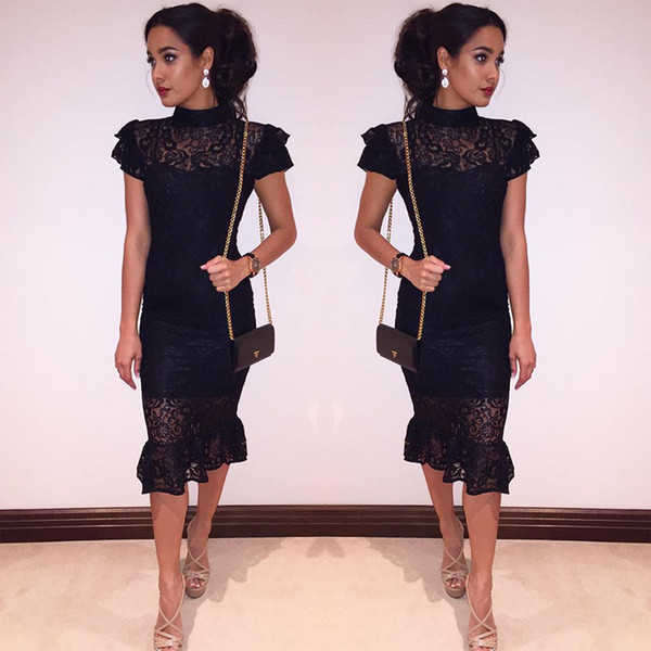 top popular Elegant Black Lace Sheath Party Dresses Knee Length Capped Sleeve Women Formal Wear Illusion Neck Short Prom Even Dress Cheap 2388 2019