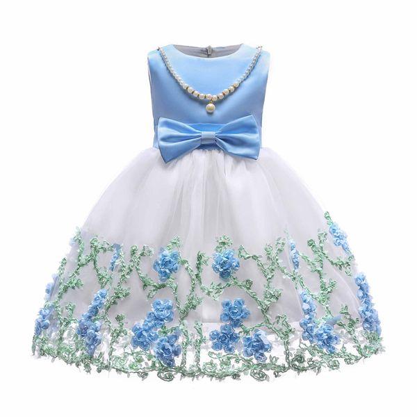 2019 muchachas lindas del bebé vestido de bola vestidos sin mangas bordado de la boda fiesta de compromiso princesa vestido niños adolescentes arco ropa