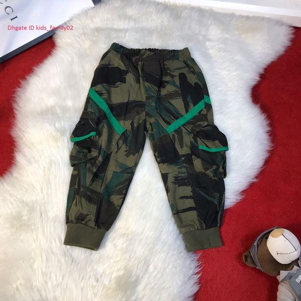 Boy rahat pantolon çocuklar tasarımcı giyim sonbahar üç boyutlu tasarım kamuflaj desen pantolon