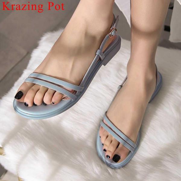 Krazing Pot neue Ankunft hübsche Mädchen Low Heels Slip auf Frauen Sandalen Low Heels Peep Round Toe Sommer Marke Berufungsschuhe L11