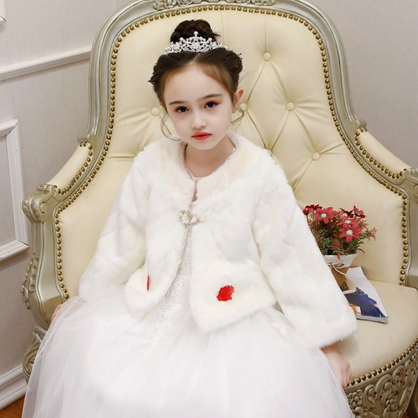 ceket gömlek şal dışında Çocuk fildişi beyaz imitasyon yele pelerin çiçek kız pelerin ceket uzun kollu kız prenses