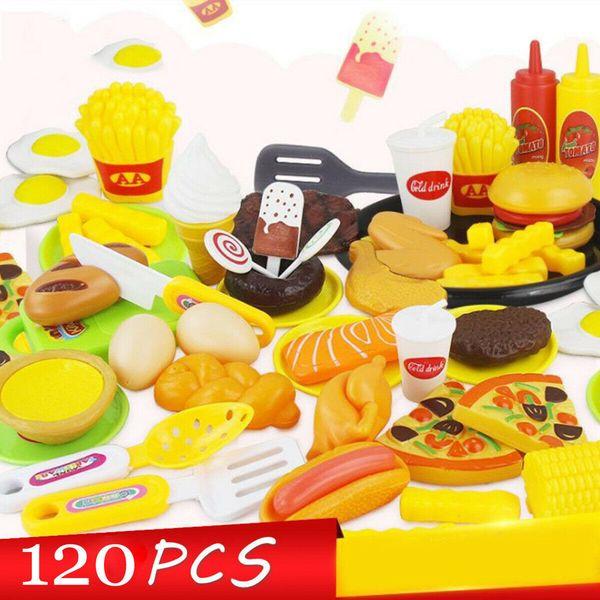 120pcs Enfants Jouet Cuisine fruits légumes nourriture Pretend Rôle Pizza Jouer coupe Set de cuisine Jouets