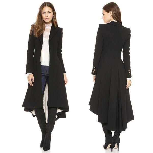 Yaxez 2018 Frauen Plus Größe Lange Goth Mantel Herbst winter schwalbenschwanz Schwarz Gefaltete Wolle Graben Schwalbenschwanz 5XL 6XL Weibliche Outwear
