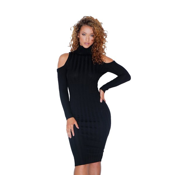 Women Ribbed Knitted Dress Plus Size Cold Shoulder Turtleneck Long Sleeve  Stretchy Casual Dress Vestidos S 3XL Clothes For Black Women Casual White  ...