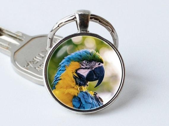 keychain Parrot keyring Parrot jewelry Parrot pendant Blue and gold macaw Tropical key ring Bird jewelry Macaw key chain Bird gift