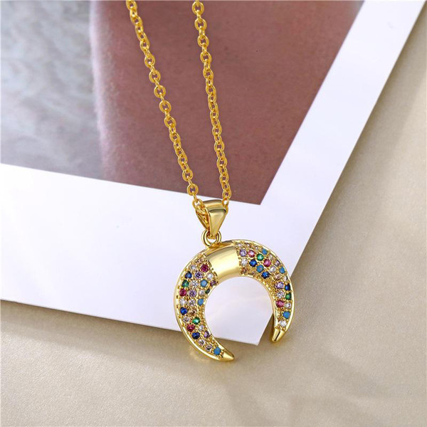 2019 New Crescent Moon Rainbow CZ Pendant Necklace for Women Gold Long Chain Zircon Necklace Design Jewelry Gift