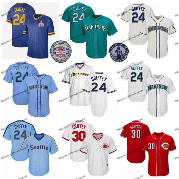 Jahrgang Mariners Ken Griffey Jr. Jersey Blaugrün 2016 Hall Of Fame Rottöne Seattle 30 Griffey Jr. Cincinnati Baseball Trikots