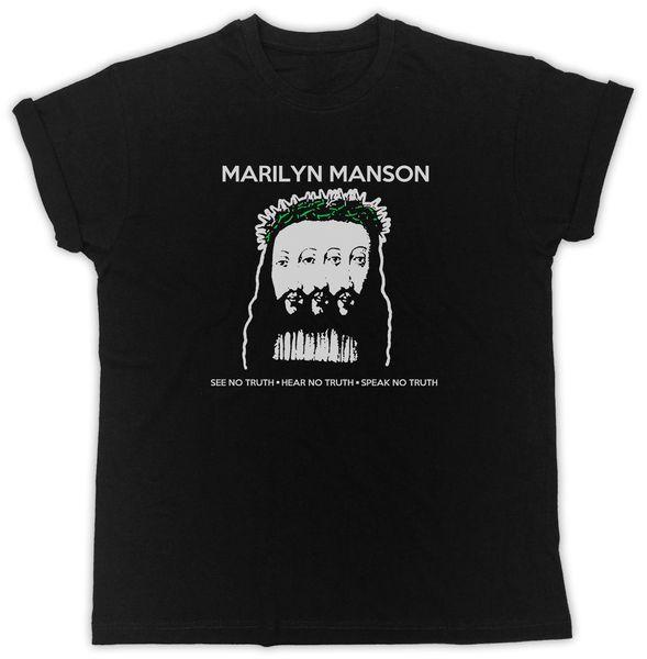 MARLYN MANSON CITAÇÕES CARTAZ LEGAL MANGA CURTA UNISEX BLACK T-SHIRT