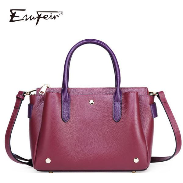 ESUFEIR New Ladies Genuine Leather Handbag Fashion Vintage Shoulder Bag Messenger Bag Luxury Handbag Designer Square Package