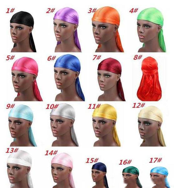 19 Yeni Moda erkek Saten Durags Bandana Türban Peruk Erkekler İpeksi Durag Şapkalar Kafa Korsan Şapka Saç Aksesuarları
