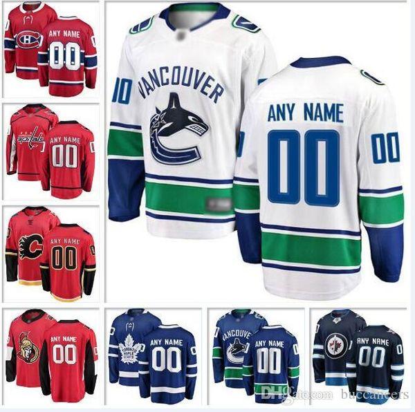 Пользовательские Канада НХЛ хоккейные команды Джерси Ванкувер Кэнакс Оттава сенаторы Виннипег Джетс Торонто Мэйпл Лифс хоккей трикотажные изделия женские дети
