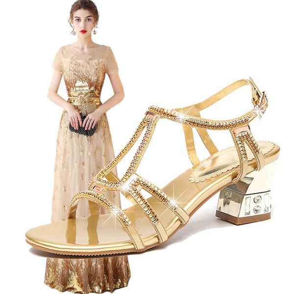 7ed6610cd63dd 2018 Kadın Abiye Ayakkabı Maç Altın Uzun Elbise Taklidi Deri Yüksek topuklu  ayakkabılar Kadın Düğün Elbise
