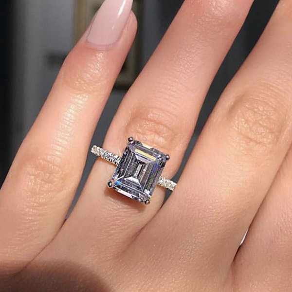 IPARAM Luxury Oversized Square Zircon Wedding Ring Jewelry for Women Elegant Geometric Cubic Zirconia Ring 6#7#8#9#