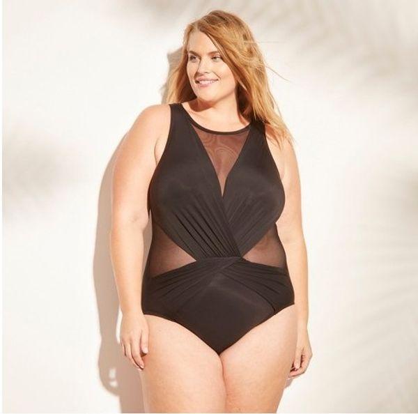 Plus Size Bikinis Swimwear for Women Beachwear 2019 Summer Mesh Monokini Bodysuits One Piece Swim Wear Bathing Suit Sexy Lady Swimsuit Black