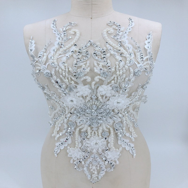 Handmade Sequin Beaded Lace Applique Wedding Dress Accessories Dance Dress Embroidery Applique Handmade Beaded Lace