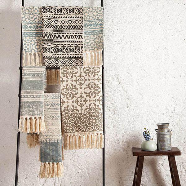 SKTEZO Cotton and Linen Woven Carpet Floor Mat Door Bedroom Tapestry Decorative Blanket Table Flag Area Rug for Living Room